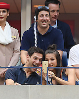 FLUSHING NY- SEPTEMBER 09: Justin Bartha and Jason Biggs seen watching Stan Wawrinka Vs Kei Nishikori during the mens semi finals on Arthur Ashe Stadium at the USTA Billie Jean King National Tennis Center on September 9, 2016 in Flushing Queens. Credit: mpi04/MediaPunch