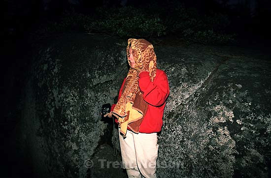 Christina Nelson with towel on head (mosquitos) at Sword Lake<br />