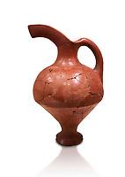 Hittite terra cotta red glazed beak spout pitcher . Hittite Period, 1600 - 1200 BC.  Hattusa Boğazkale. Çorum Archaeological Museum, Corum, Turkey. Against a white bacground.
