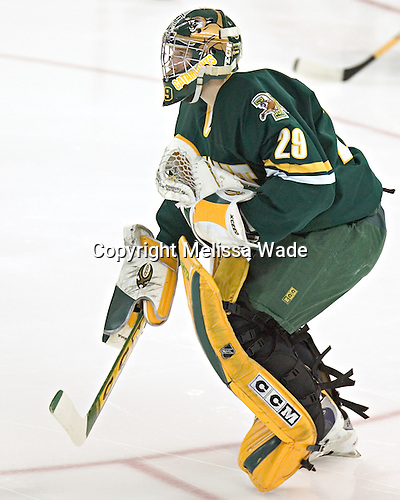 Joe Fallon joins the other Vermont starters at the blue line - The Boston College Eagles completed a shutout sweep of the University of Vermont Catamounts on Saturday, January 21, 2006 by defeating Vermont 3-0 at Conte Forum in Chestnut Hill, MA.