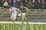 Daithi Casey, Kerry in action against Jason Kelly Tyrone in the fourth round of the National Football league at Fitzgerald Stadium, Killarney on Sunday.