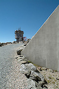Observatory Tower on the summit of Mount Washington during the summer months in the scenic landscape of the White Mountains, New Hampshire USA.
