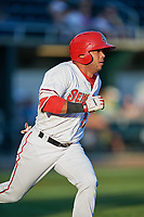Harrisburg Senators right fielder Yadiel Hernandez (12) runs to first base during a game against the Bowie Baysox on May 16, 2017 at FNB Field in Harrisburg, Pennsylvania.  Bowie defeated Harrisburg 6-4.  (Mike Janes/Four Seam Images)