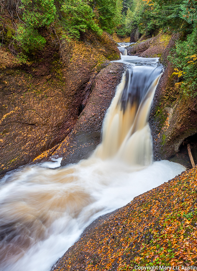 Ottawa National Forest, Michigan: Gorge Falls on the Black River in fall, Black River Recreation Area, Upper Penninsula