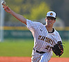 Frank Massa #27, St. Anthony's starting pitcher, delivers to the plate in the top of the seventh inning of a Nassau-Suffolk CHSAA varsity baseball game against Holy Trinity at St. Anthony's High School on Friday, April 28, 2017. He pitched a complete game and was the winning pitcher of record in the Friars' 4-1 victory.
