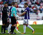 Billy Sharp of Sheffield Utd is substituted for David Brooks of Sheffield Utd during the Championship match at the Stadium of Light, Sunderland. Picture date 9th September 2017. Picture credit should read: Simon Bellis/Sportimage