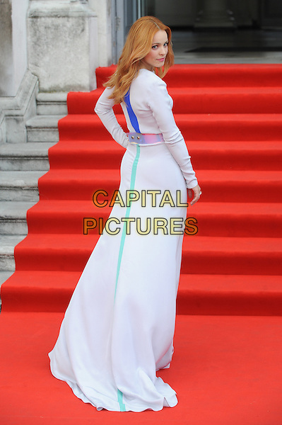 Rachel McAdams <br /> attends the World Premiere of &quot;About Time&quot;, Somerset House, London, UK, 8th August 2013.<br /> full length white long sleeve maxi dress silver belt waistband blue green stripe looking back rear behind over shoulder hand on hip <br /> CAP/BEL<br /> &copy;Tom Belcher/Capital Pictures