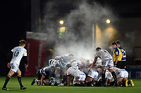 Steam rises from a scrum. Aviva Premiership match, between Worcester Warriors and Bath Rugby on January 5, 2018 at Sixways Stadium in Worcester, England. Photo by: Patrick Khachfe / Onside Images