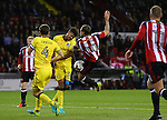 Billy Sharp of Sheffield Utd attempts a volley during the League One match at Bramall Lane Stadium, Sheffield. Picture date: September 27th, 2016. Pic Simon Bellis/Sportimage