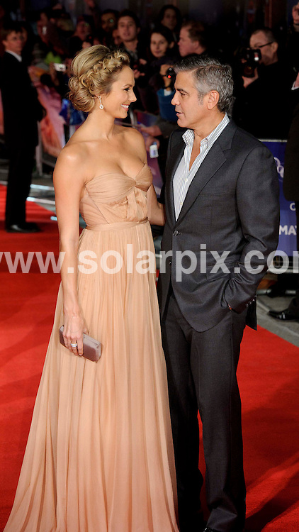 **ALL ROUND PICTURES FROM SOLARPIX.COM**                                             **WORLDWIDE SYNDICATION RIGHTS**                                                                                  The Descendants Premier BFI Festival 2011, Odeon Leicester Square London                                                                        This pic:   George Clooney and Stacy Keibler                                                                                           JOB REF:   14092     MZF       DATE: 20.10.11                                                           **MUST CREDIT SOLARPIX.COM OR DOUBLE FEE WILL BE CHARGED**                                                                      **MUST AGREE FEE BEFORE ONLINE USAGE**                               **CALL US ON: +34 952 811 768 or LOW RATE FROM UK 0844 617 7637**