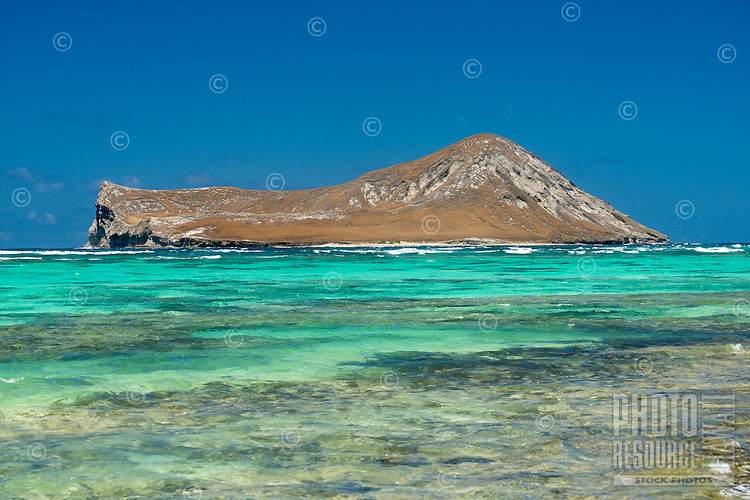 A sunlit Manana Island, a.k.a. Rabbit Island, on the Windward side of O'ahu.