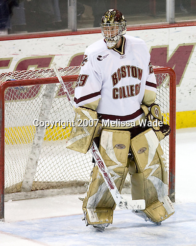 Joe Pearce (BC - 29) - The Boston College Eagles defeated the visiting Northeastern University Huskies 7-1 on Friday, March 9, 2007, to win their Hockey East quarterfinals matchup in two games at Conte Forum in Chestnut Hill, Massachusetts.