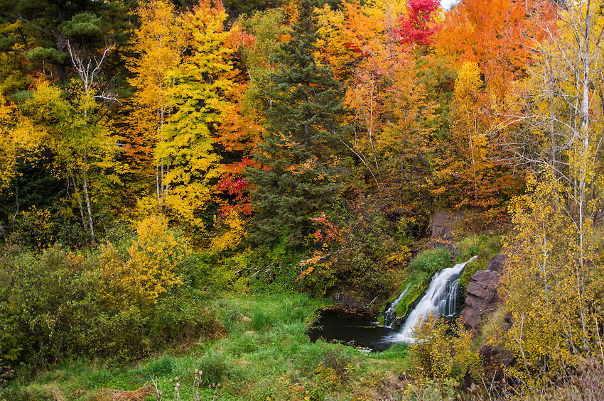 Fall color along Warner Falls in Marquette County on Michigan's Upper Peninsula.