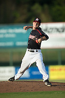 Kannapolis Intimidators relief pitcher Connor Walsh (45) in action against the Hagerstown Suns at CMC-Northeast Stadium on July 19, 2015 in Kannapolis, North Carolina.  The Suns defeated the Intimidators 9-4.  (Brian Westerholt/Four Seam Images)