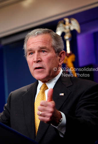 """Washington, DC - July 15, 2008 -- United States President George W. Bush holds a press conference in the Brady Press Briefing Room of the White House in Washington, D.C. on Tuesday, July 15, 2008.   During the 42 minute question and answer period, the President fielded questions concerning the bail-out of the Federal Home Loan Mortgage Corporation (FHLMC), commonly known as """"Freddie Mac"""", and the Federal National Mortgage Association (FNMA), commonly known as """"Fannie Mae"""";  the state of the American economy; the wars in Afghanistan and Iraq; high oil and gasoline prices; off-shore oil drilling; and the building of new refineries in the United States...Credit: Aude Guerrucci - Pool via CNP"""