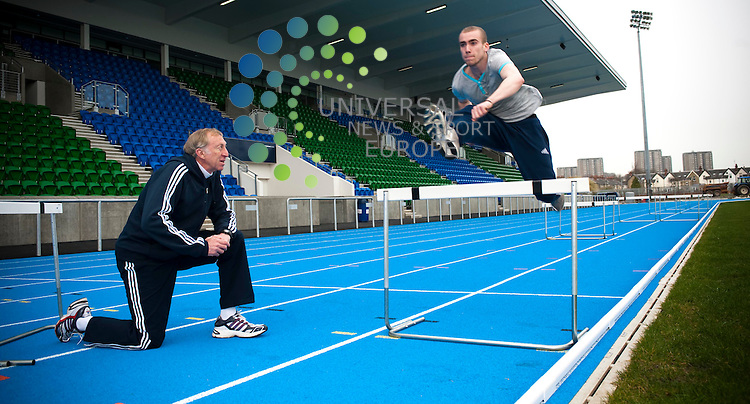 David Hemery coaches athlete David Martin from Milingavie. The Former olympic gold medalist, David Hemery CBE, today passed on tips to leading sprinters. David, who won gold in the 1968 400m hurdles gave a masterclass to the scottish sprinters as part of the 2014 commonwealth games legacy programme...Scotstoun Stadium, 72 Danes Drive, Scotstoun, Glasgow, Scotland G14 9HD. Picture: Euan Anderson/Universal News And Sport (Scotland) 09th April 2010.