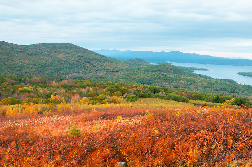 A fine, albeit distant view of the White Mountains can be had over the shoulder of Mt. Major from the Society for the Protection of New Hampshire Forests' Morse Preserve in Alton, New Hampshire.