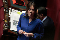 Elena Boschi con una camicia azzurro acceso <br /> Roma 25-02-2014 Camera. Voto di fiducia al nuovo Governo.<br /> Senate. Trust vote for the new Government.<br /> Photo Samantha Zucchi Insidefoto