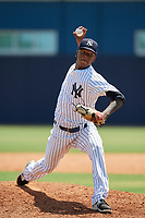 GCL Yankees East pitcher Jose Peguero (40) during a Gulf Coast League game against the GCL Phillies East on July 31, 2019 at Yankees Minor League Complex in Tampa, Florida.  GCL Yankees East defeated the GCL Phillies East 11-0 in the first game of a doubleheader.  (Mike Janes/Four Seam Images)