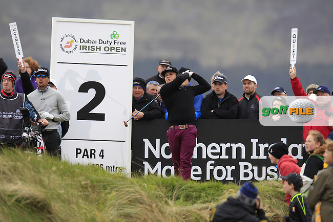 Tyrrell HATTON (ENG) tees off the 2nd tee during Saturday's Round 3 of the 2015 Dubai Duty Free Irish Open, Royal County Down Golf Club, Newcastle Co Down, Northern Ireland 5/30/2015<br /> Picture Eoin Clarke, www.golffile.ie