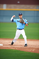 Ismael Lopez (3) of Arington Heights High School in Fort Worth, Texas during the Under Armour All-American Pre-Season Tournament presented by Baseball Factory on January 14, 2017 at Sloan Park in Mesa, Arizona.  (Mike Janes/MJP/Four Seam Images)