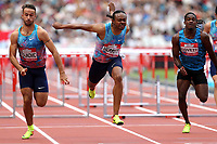 /Aries Merritt of USA and Milan Trajkovic and Eddie Lovett of Virgin Islands compete in the menís 110 metres hurdles during the Muller Anniversary Games at The London Stadium on 9th July 2017