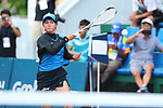 Riko Hayashida & Toshiki Uematsu (JPN), <br /> AUGUST 30, 2018 - Soft Tennis : <br /> Mixed Doubles  Semi-final <br /> at Jakabaring Sport Center Tennis Courts <br /> during the 2018 Jakarta Palembang Asian Games <br /> in Palembang, Indonesia. <br /> (Photo by Yohei Osada/AFLO SPORT)