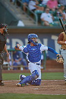 Marco Hernandez (13) of the Ogden Raptors on defense against the Rocky Mountain Vibes at Lindquist Field on July 6, 2019 in Ogden, Utah. The Vibes defeated the Raptors 7-2. (Stephen Smith/Four Seam Images)