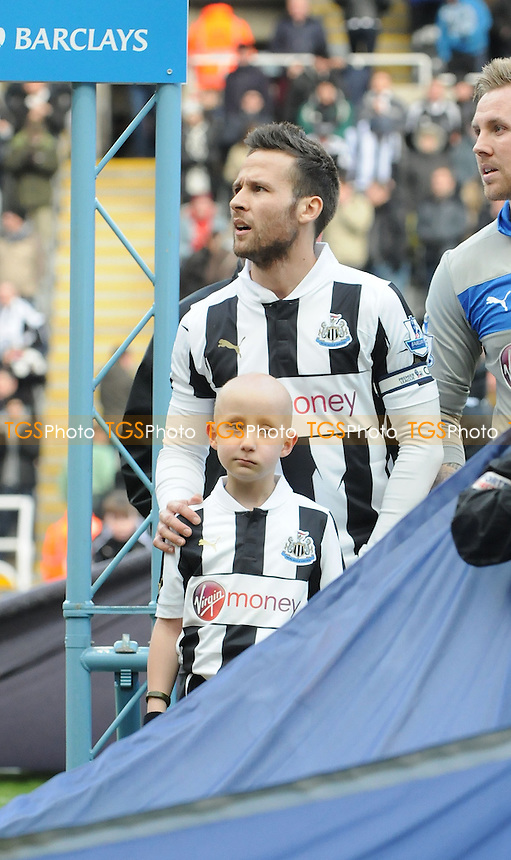 Newcastle United captain Yohan Cabaye and mascot Cory Davison - Newcastle United vs Stoke City - Barclays Premier League Football at St James Park, Newcastle upon Tyne - 10/03/13 - MANDATORY CREDIT: Steven White/TGSPHOTO - Self billing applies where appropriate - 0845 094 6026 - contact@tgsphoto.co.uk - NO UNPAID U