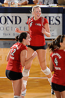 20 November 2008:  Arkansas State outside hitter Kristen Catalane (6) celebrates winning a key point during the Middle Tennessee 3-0 victory over Arkansas State in the first round of the Sun Belt Conference Championship tournament at FIU Stadium in Miami, Florida.