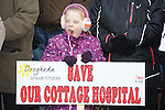 Chelsea McGuinness pictured at the march against the closure of the Cottage Hospital. Photo: Colin Bell/pressphotos.ie