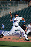 Northwest Arkansas Naturals pitcher Ofreidy Gomez (28) delivers a pitch during a Texas League game between the Northwest Arkansas Naturals and the Arkansas Travelers on May 30, 2019 at Arvest Ballpark in Springdale, Arkansas. (Jason Ivester/Four Seam Images)