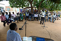 UGANDA, Arua, Radio Pacis, recording programme community voices in village Onduparaka, villagers speak about problems, government, life