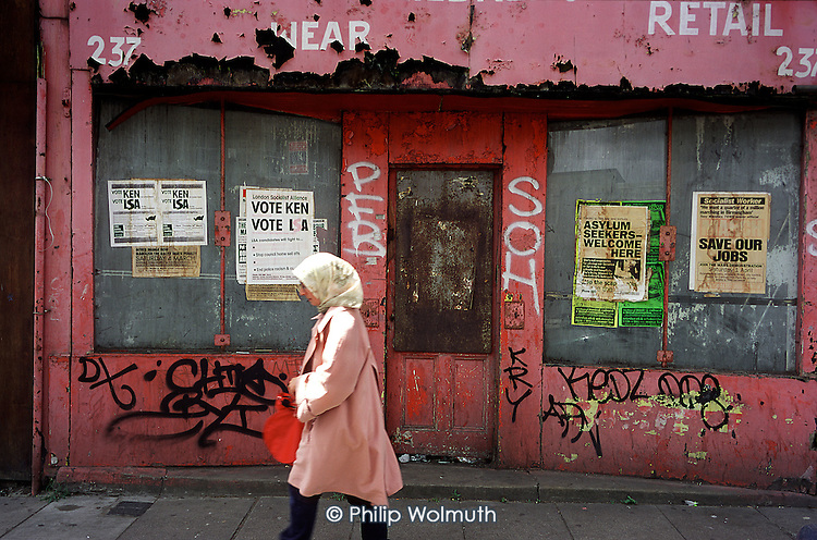 Derelict shop in Hoxton High Street, East London...