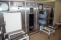 An autoclave sterilizing unit in a hospital. The autoclave is used to sterilize surgical instruments and surgical drapes. This image may only be used to portray the subject in a positive manner..©shoutpictures.com..john@shoutpictures.com