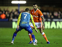 Blackpool's Curtis Tilt competing with Solihull Moors' Jamey Osborne<br /> <br /> Photographer Andrew Kearns/CameraSport<br /> <br /> The Emirates FA Cup Second Round - Solihull Moors v Blackpool - Friday 30th November 2018 - Damson Park - Solihull<br />  <br /> World Copyright © 2018 CameraSport. All rights reserved. 43 Linden Ave. Countesthorpe. Leicester. England. LE8 5PG - Tel: +44 (0) 116 277 4147 - admin@camerasport.com - www.camerasport.com