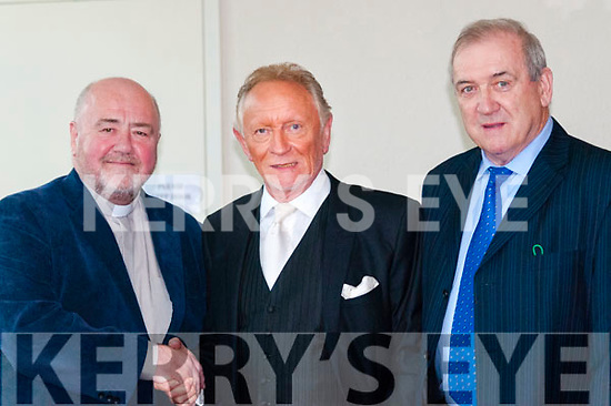 Phil Coulter Concert: Fr. Kevin McNamara, PP Moyvane welcoming Phil Coulter to the Church of the Assumption for his Concert on Tuesday night last along with MC on the night Eoin Hand.