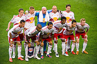New York Red Bulls starting XI. The New York Red Bulls  defeated the Portland Timbers 3-2 during a Major League Soccer (MLS) match at Red Bull Arena in Harrison, NJ, on August 19, 2012.