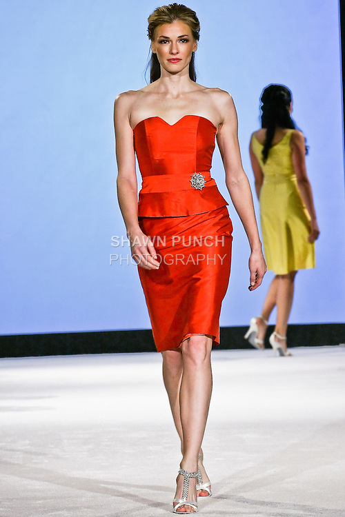 Model walks the runway in a , during the Wedding Trendspot Press Fashion Show at the Waldorf-Astoria; October 18 2009