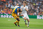 Real Madrid's Luka Modric and Apoel's Jesus Rueda during UEFA Champions League match between Real Madrid and Apoel at Santiago Bernabeu Stadium in Madrid, Spain September 13, 2017. (ALTERPHOTOS/Borja B.Hojas)