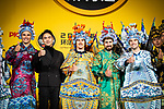 Marcel Kittel (GER), Yellow Jersey Geraint Thomas (WAL), Green Jersey Peter Sagan (SVK) and White Jersey Pierre Roger Latour (FRA) wearing full Bejing Opera costumes on stage at the media day before the 2018 Shanghai Criterium, Shanghai, China. 16th November 2018.<br /> Picture: ASO/Pauline Ballet | Cyclefile<br /> <br /> <br /> All photos usage must carry mandatory copyright credit (© Cyclefile | ASO/Pauline Ballet)