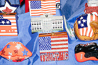 Republican-themed jeweled wooden handbags made by Timmy Woods of Los Angeles, California, are seen for sale in the Freedom Market in the secure area outside the arena on the first day of the Republican National Convention in the Quicken Loans Arena in Cleveland, Ohio, on Mon., July 18, 2016
