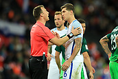 5th October 2017, Wembley Stadium, London, England; FIFA World Cup Qualification, England versus Slovenia; Josh Stone of England speaks with the referee