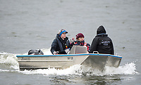 Mortlake/Chiswick, GREATER LONDON. United Kingdom Oxford University Women's Boat  Club, OUWBC vs Molesey BC,  Pre Boat Race Fixture, 2017 Boat Race, The Championship Course, Putney to Mortlake on the River Thames.<br /> Oxford BC. Coaching Launch. Chief Coach, Ali WILLIAMS, Rob MORGAN, and Zoe De TOLEDO<br /> <br /> Sunday  19/03/2017<br /> <br /> [Mandatory Credit; Peter SPURRIER/Intersport Images]