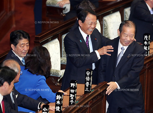 September 28, 2017, Tokyo, Japan - Japanese Finance Ministder Taro Aso shares smiles with LDP Secretary General Toshihiro Nikai before starting the Lower House's plenary session at the National Diet in Tokyo on Thursday, September 28, 2017. Abe dissolved the Lower House and a general election will be held on October 22.   (Photo by Yoshio Tsunoda/AFLO) LWX -ytd-