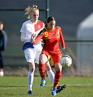 20140209 - TUBIZE , BELGIUM : Belgian Lola Wajnblum (r) pictured with Dutch Danique Kerkdijk (l) during a friendly soccer match between the Under 19 ( U19) women teams of Belgium and The Netherlands , Sunday 9 February 2014 in Tubize . PHOTO DAVID CATRY