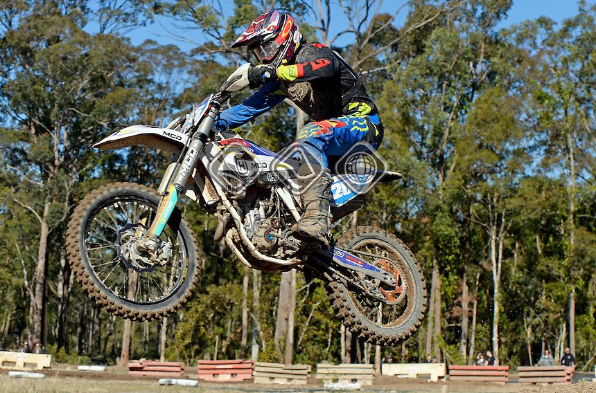 Ryan Findanis / Husqvarna<br /> MX Nationals / Round 6 / MXD<br /> Australian Motocross Championships<br /> Raymond Terrace NSW<br /> Sunday 5 July 2015<br /> &copy; Sport the library / Jeff Crow