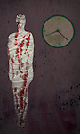 Conceptual shot of woman's body wrapped with blood stained bandage and wall clock representing menopause