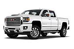 Stock pictures of low aggressive front three quarter view of 2019 GMC Sierra-2500 Denali 4 Door Pick-up Low Aggressive