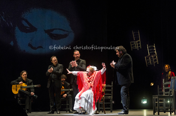 London, UK. 21.02.2018. Legendary flamenco artist La Chana makes a rare appearance at this year's Gala Flamenca with guest artists: Ángel Rojas, Antonio Canales, El Farru, Gema Moneo, 21-23 Feb 2018. Photo shows:  La Chana. Photo - © Foteini Christofilopoulou.